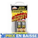 Pattex Ni Clou Ni Vis Chrono lot de 2 cartouches 380 g + 1 pistolet