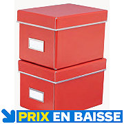 2 boites de rangement Manhattan range CD rouge
