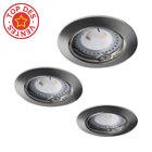 Kit de 3 spots à encastrer LED ronds Acier brossé